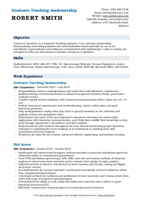 Graduate Teaching Assistantship Resume Format