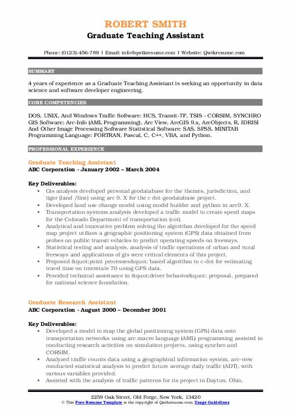 Graduate Teaching Assistant Resume Template