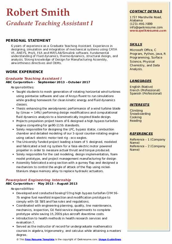 Graduate Teaching Assistant I Resume Sample