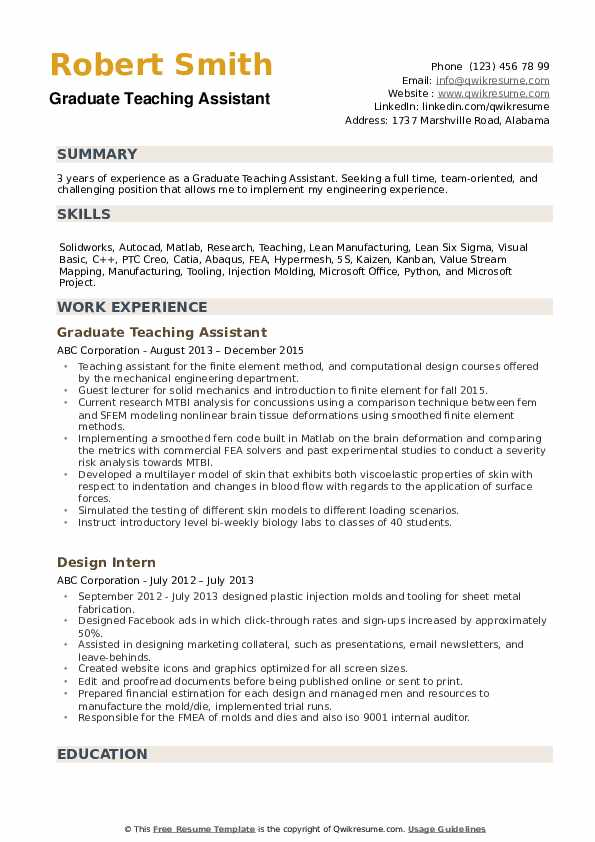 Graduate Teaching Assistant Resume example