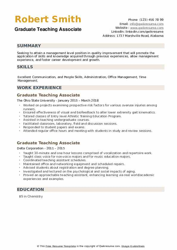 Graduate Teaching Associate Resume example