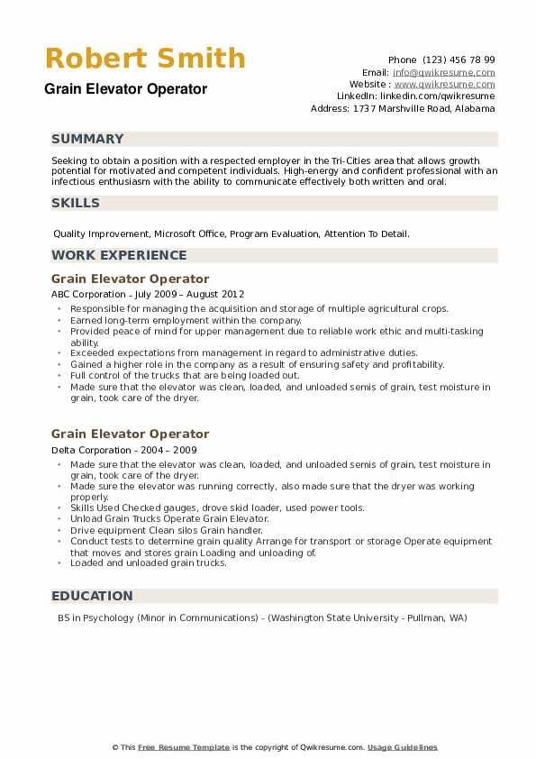 Grain Elevator Operator Resume example