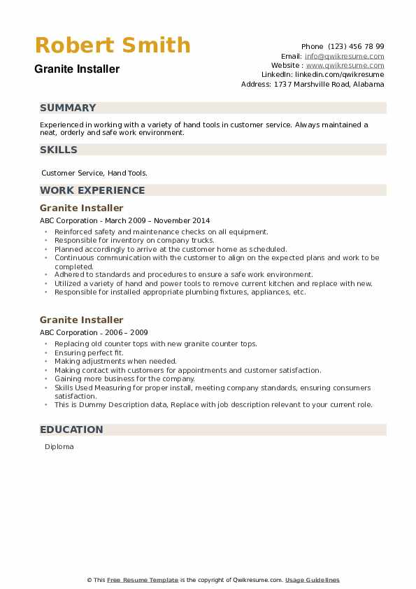 Granite Installer Resume example