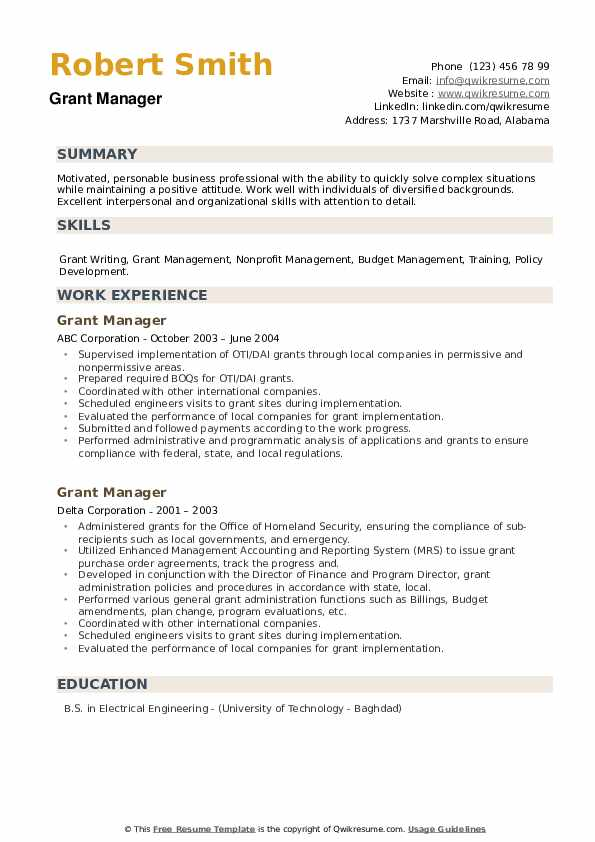 Grant Manager Resume example