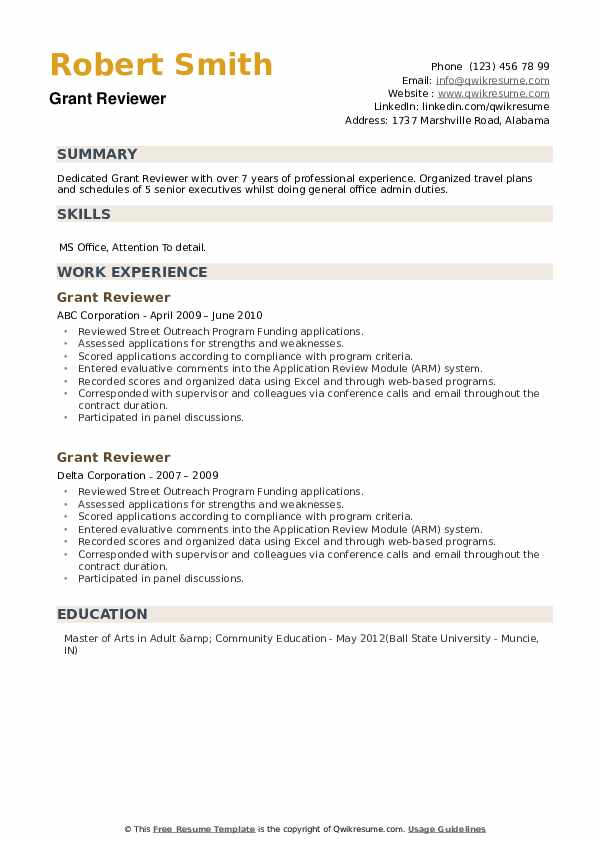 Grant Reviewer Resume example
