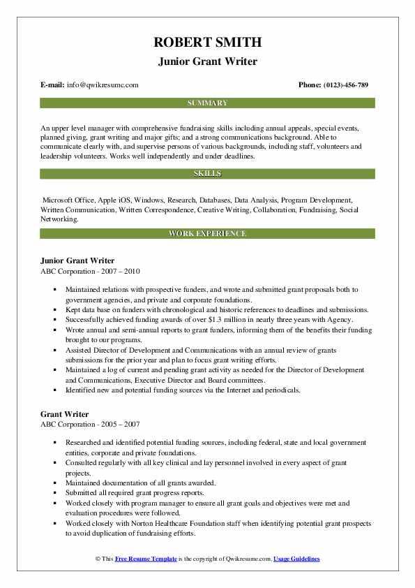 Junior Grant Writer Resume Example