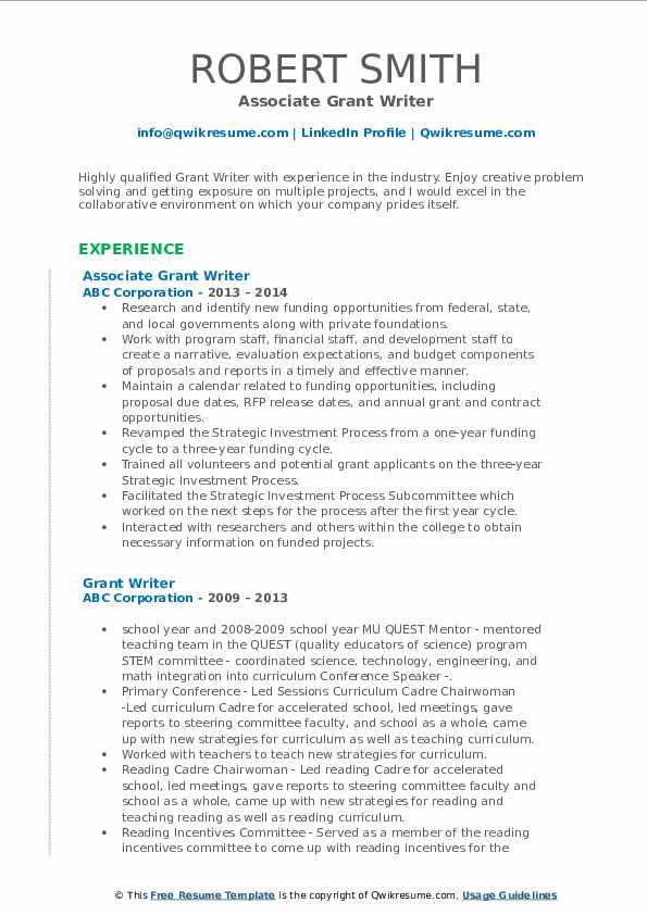 Associate Grant Writer Resume Model