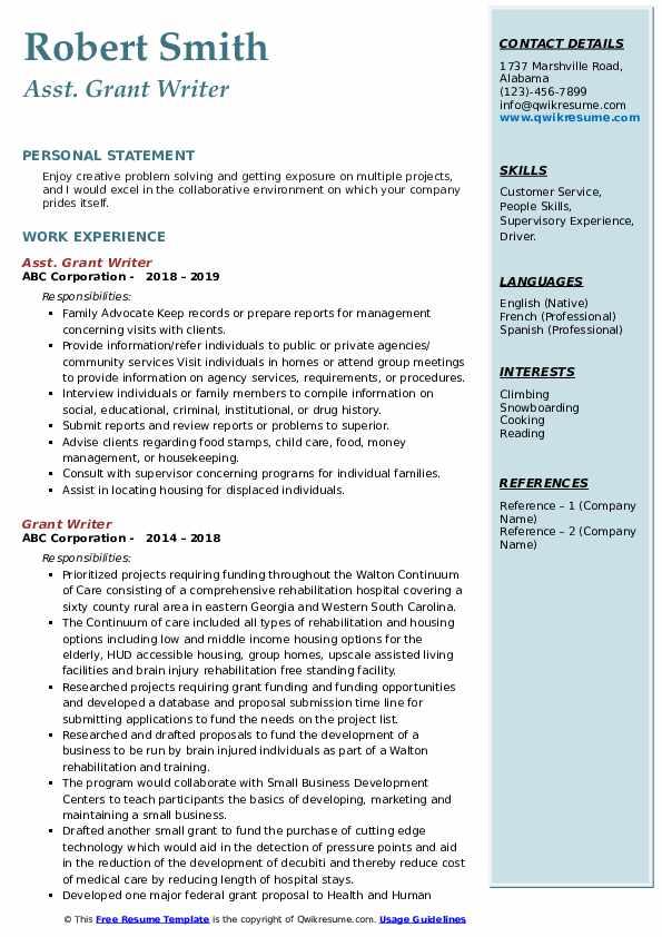 Asst. Grant Writer Resume Sample