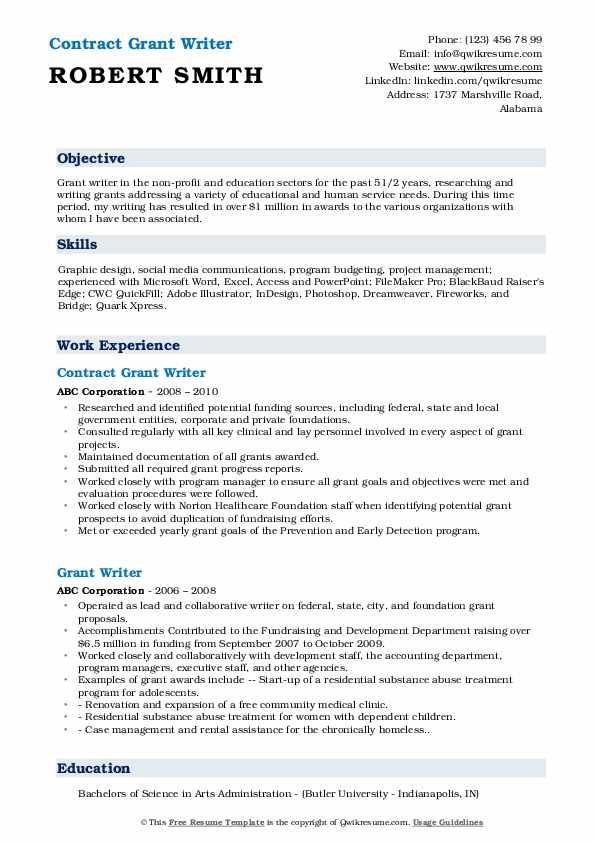 grant writer resume samples