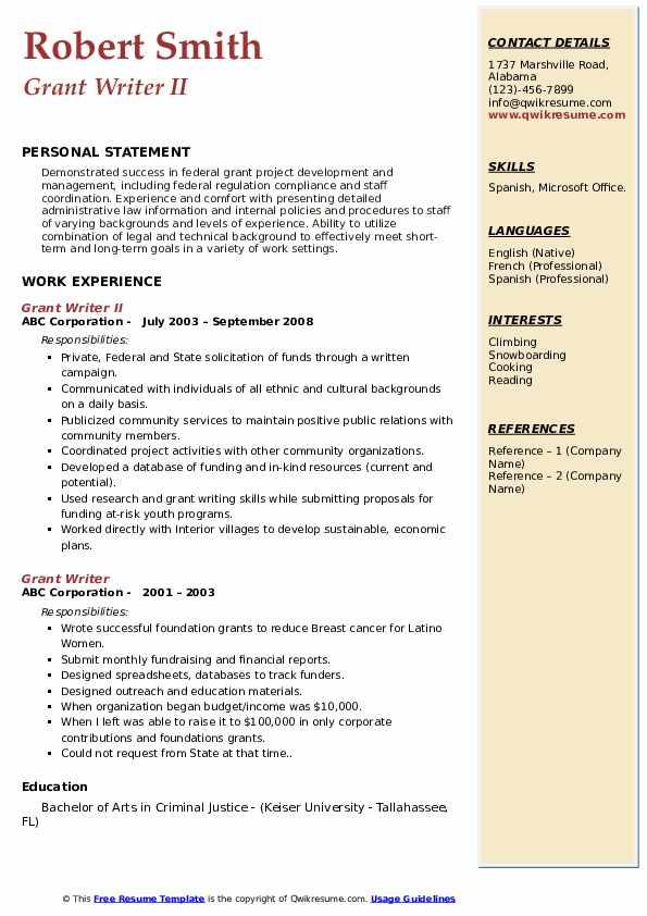 Grant Writer II Resume Example
