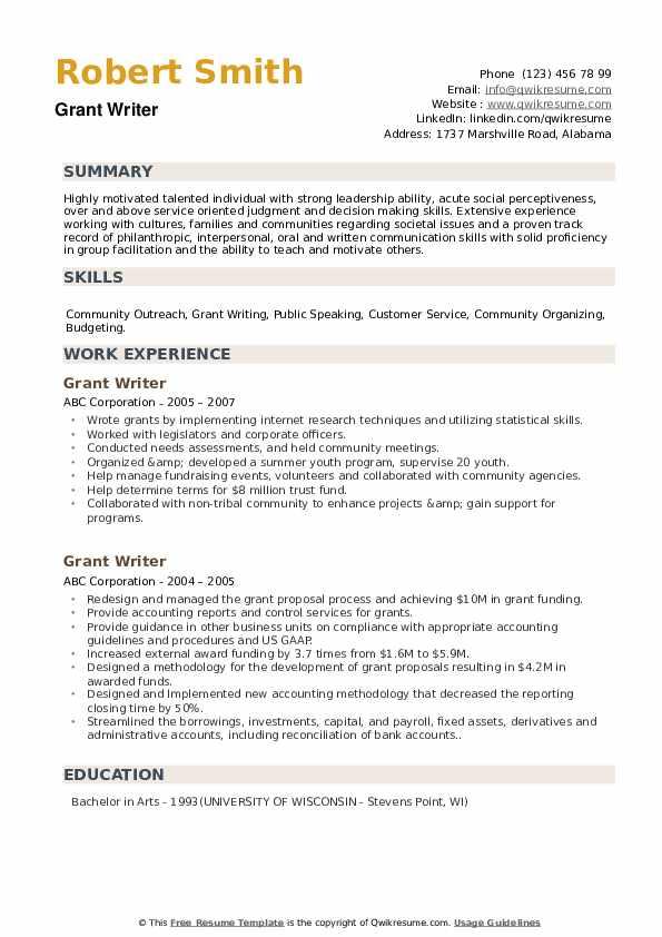 Grant Writer Resume example