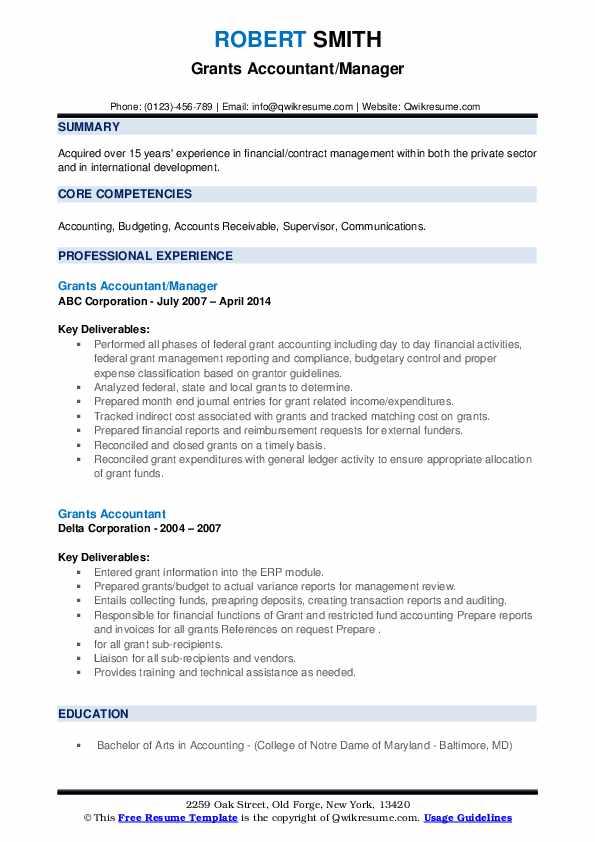 grants accountant resume samples  qwikresume