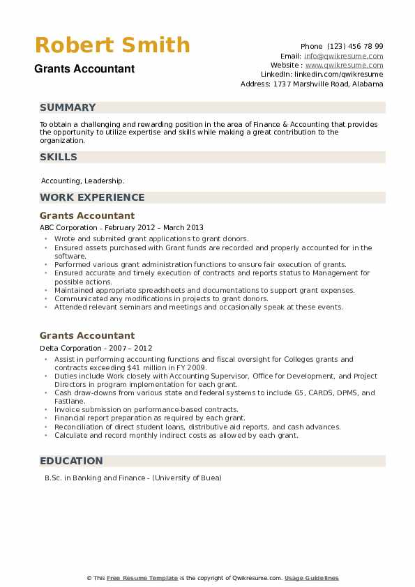 Grants Accountant Resume example