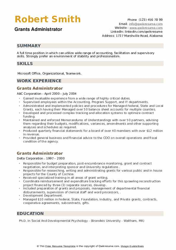 Grants Administrator Resume example