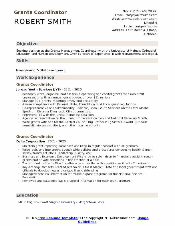 grants coordinator resume sample