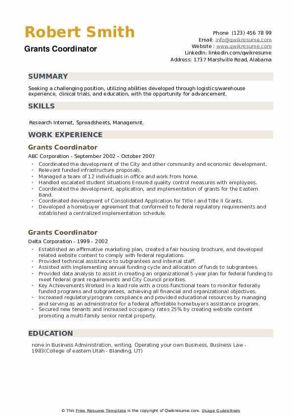 grants coordinator resume samples  qwikresume