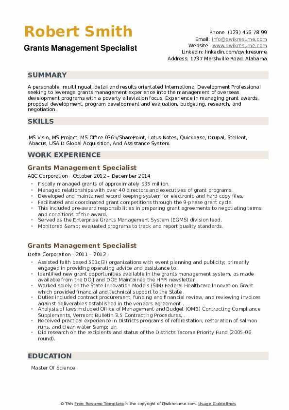Grants Management Specialist Resume example