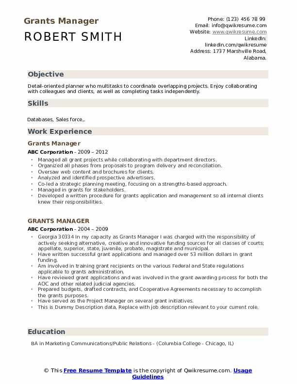 Grants Manager Resume example