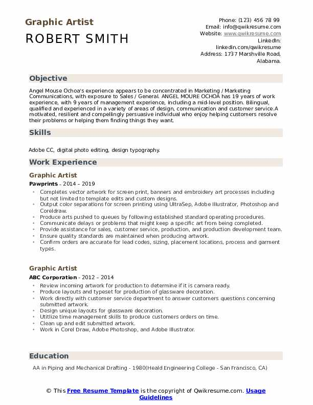 Graphic Artist Resume Samples Qwikresume