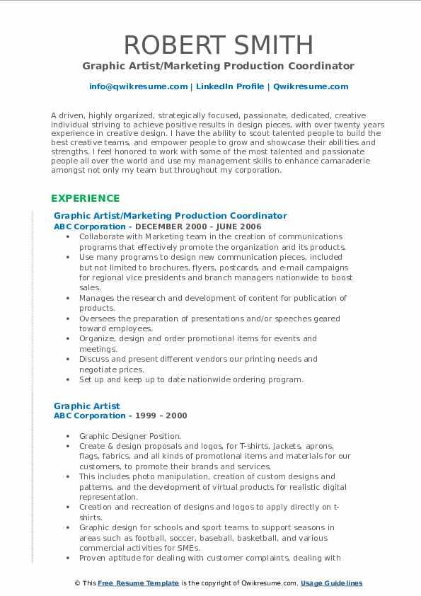 Graphic Artist/Marketing Production Coordinator Resume Format