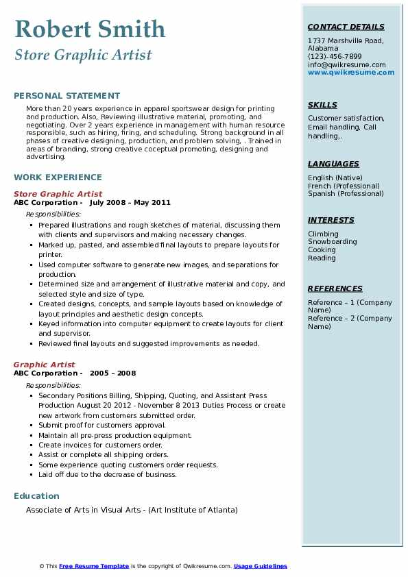 Store Graphic Artist Resume Template