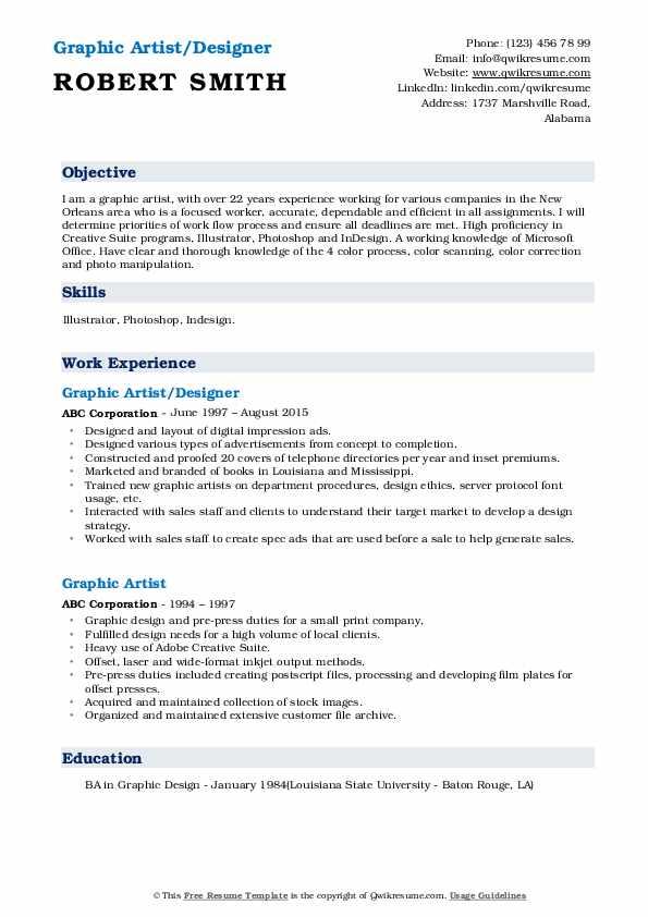 Graphic Artist/Designer Resume Template