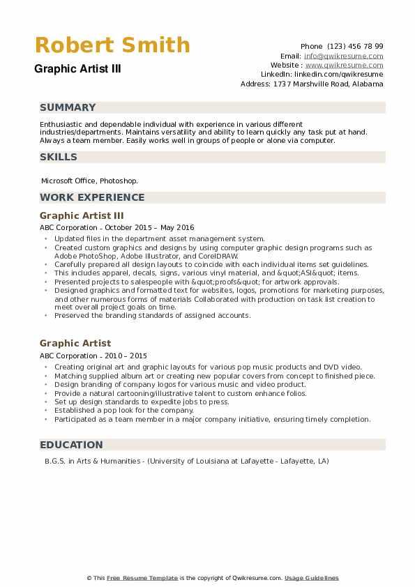 Graphic Artist III Resume Model