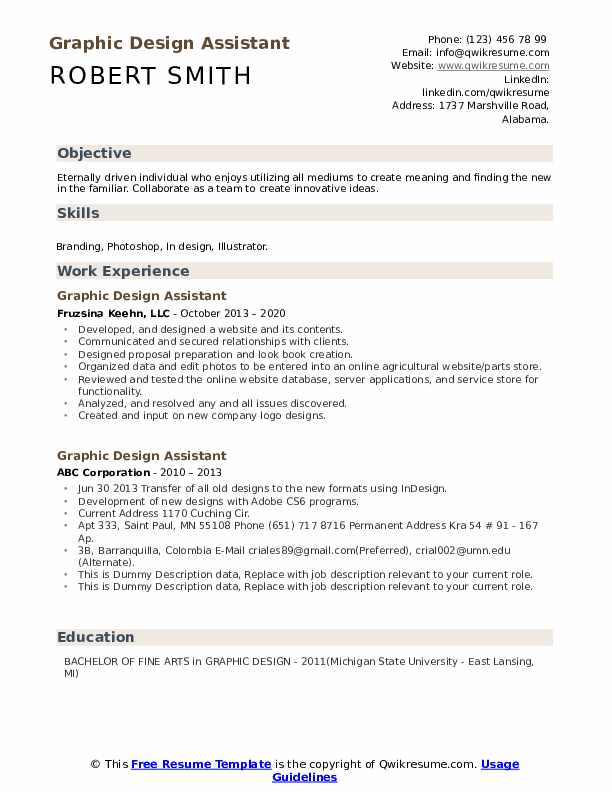 Graphic Design Assistant Resume example