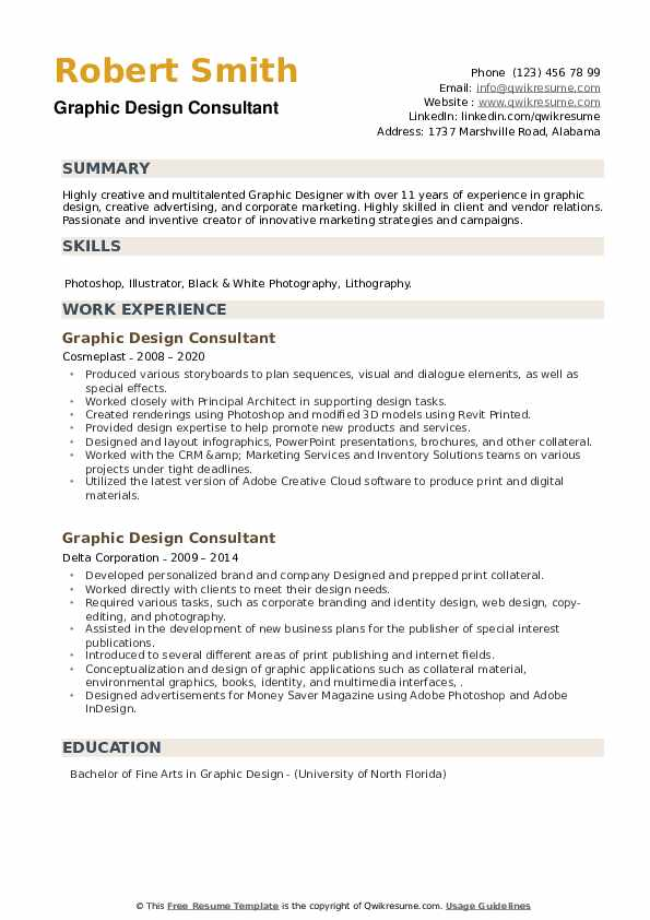 Graphic Design Consultant Resume example