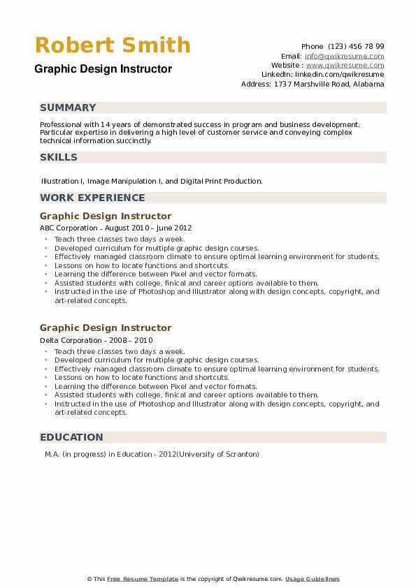 Graphic Design Instructor Resume example