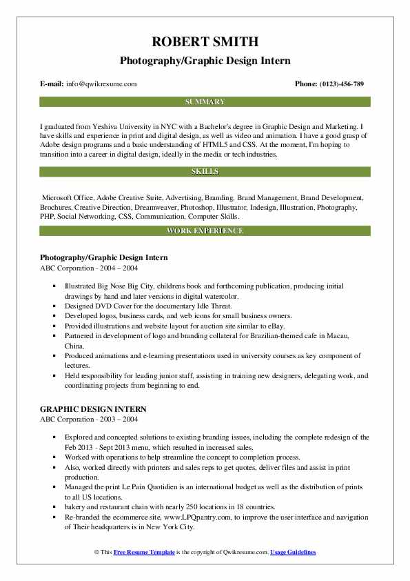 Graphic Design Intern Resume Samples Qwikresume
