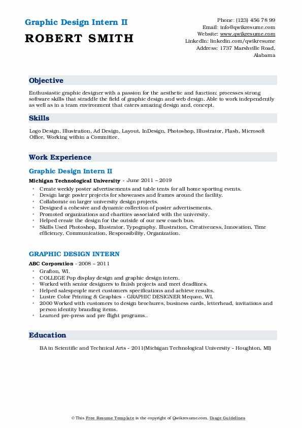 Graphic Design Intern II Resume Example