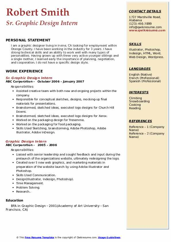 Sr. Graphic Design Intern Resume Model
