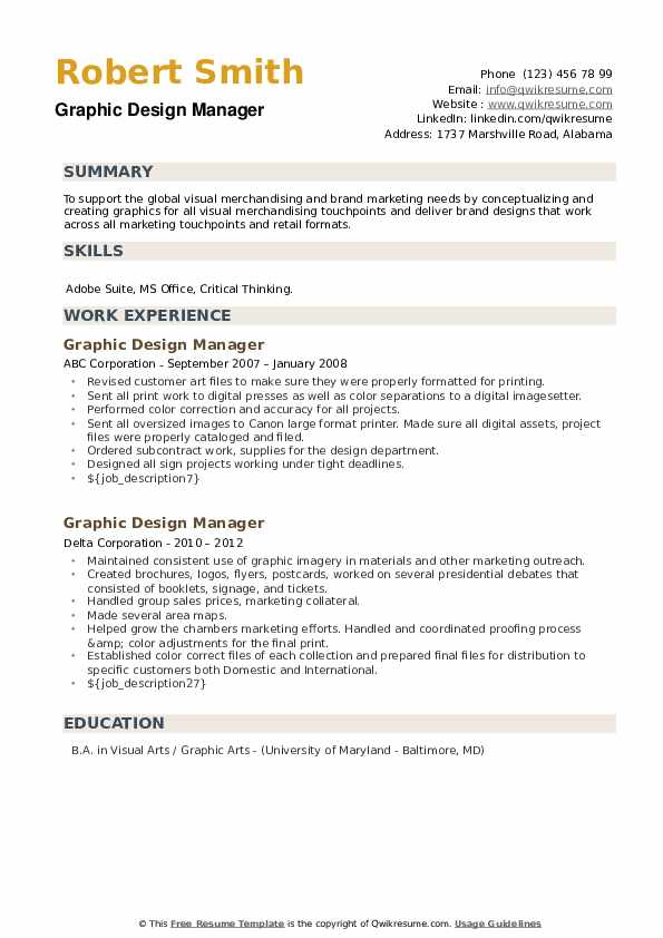 Graphic Design Manager Resume example