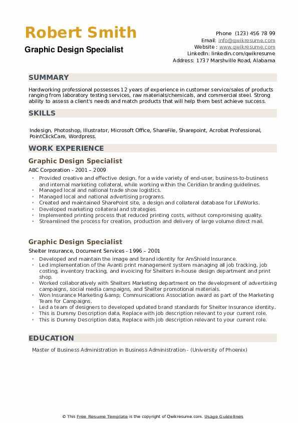 Graphic Design Specialist Resume example