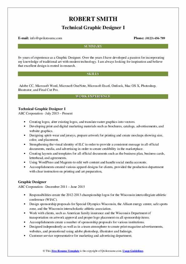 Technical Graphic Designer I Resume Format