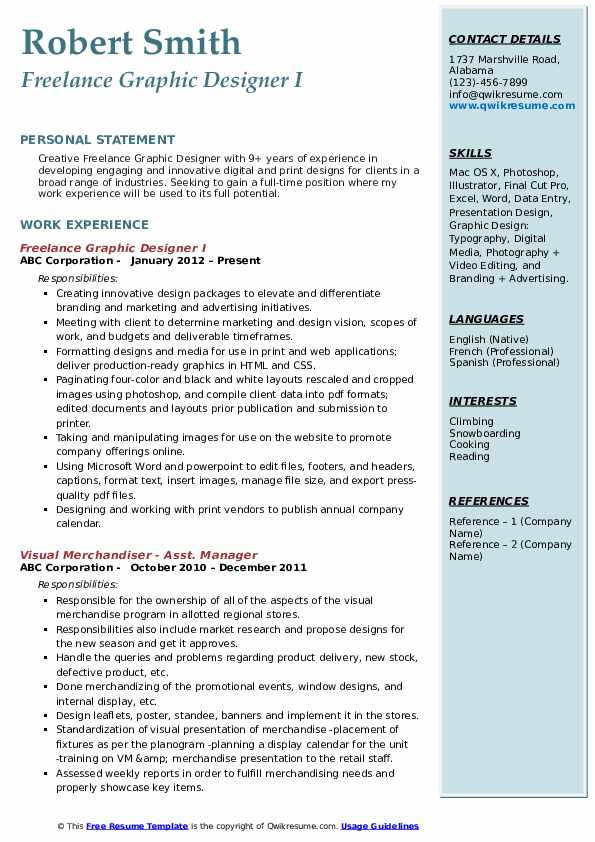 Freelance Graphic Designer I Resume Template
