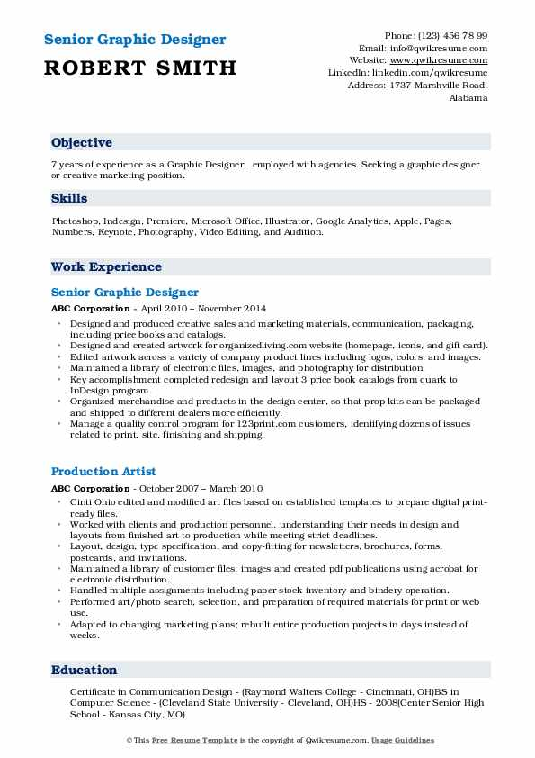 Senior Graphic Designer Resume Format