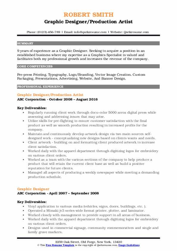 Graphic Designer/Production Artist Resume Format