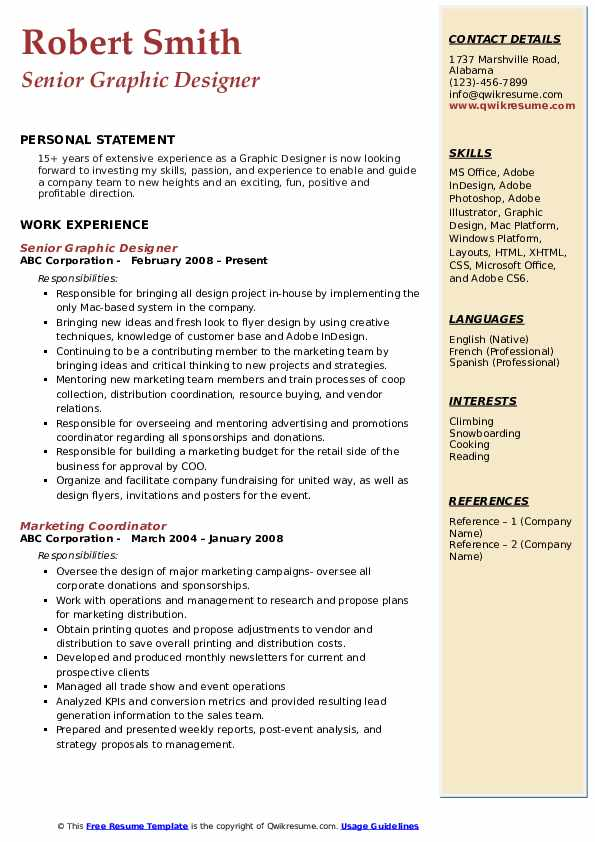 Senior Graphic Designer Resume Example