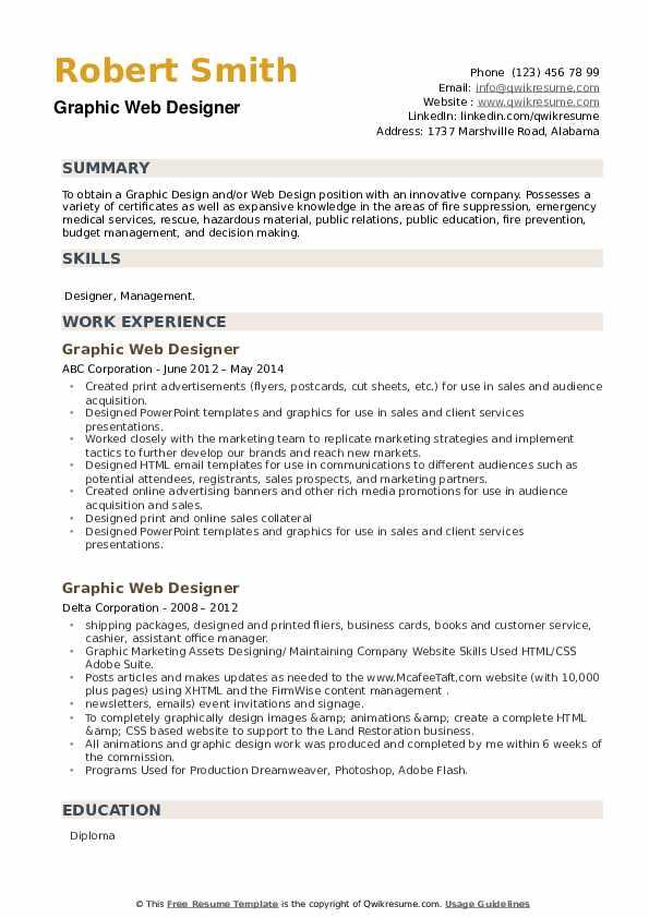 Graphic Web Designer Resume example