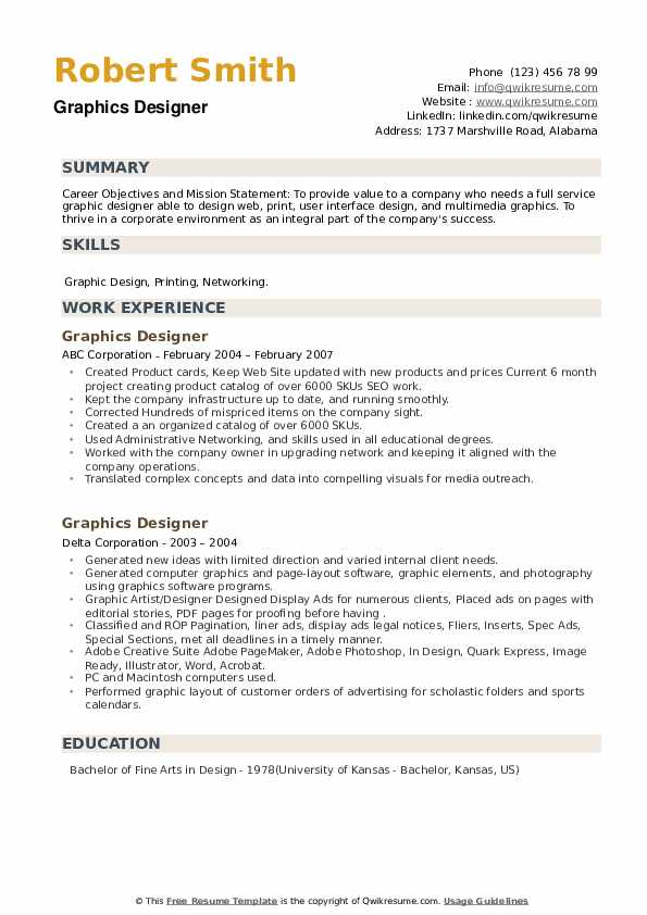 Graphics Designer Resume example