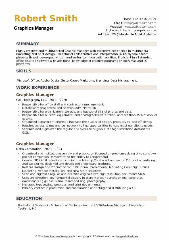 Graphics Manager Resume example