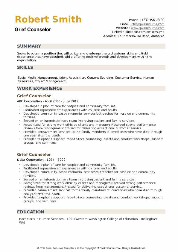 Grief Counselor Resume example