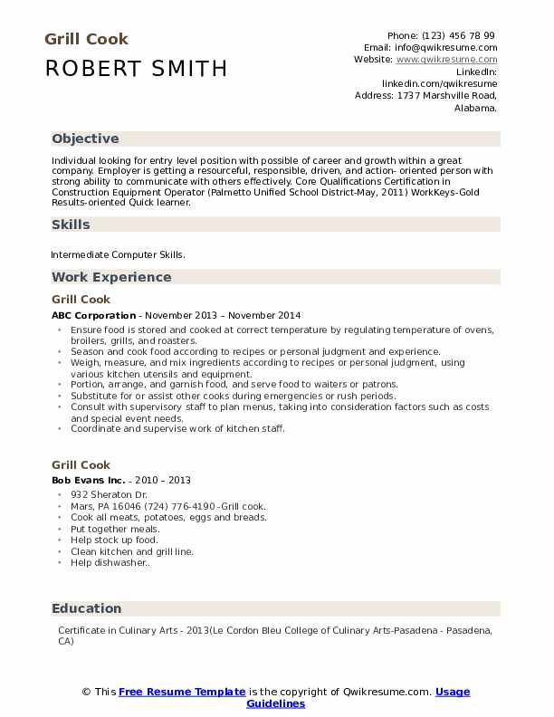 Grill Cook Resume Format