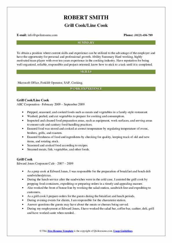 Grill Cook/Line Cook Resume Example
