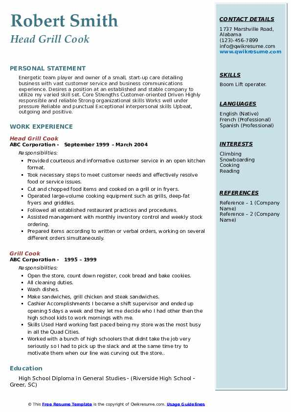 Head Grill Cook Resume Template