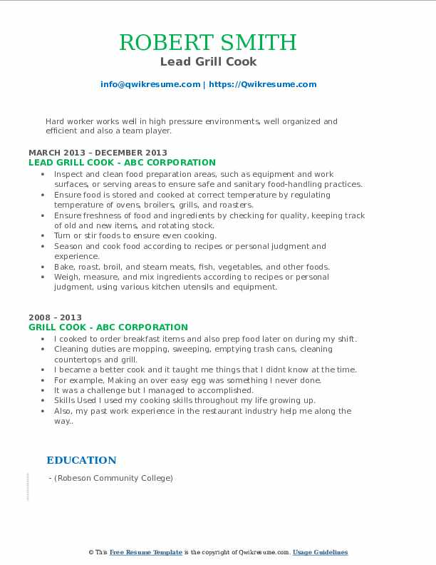 Lead Grill Cook Resume Example