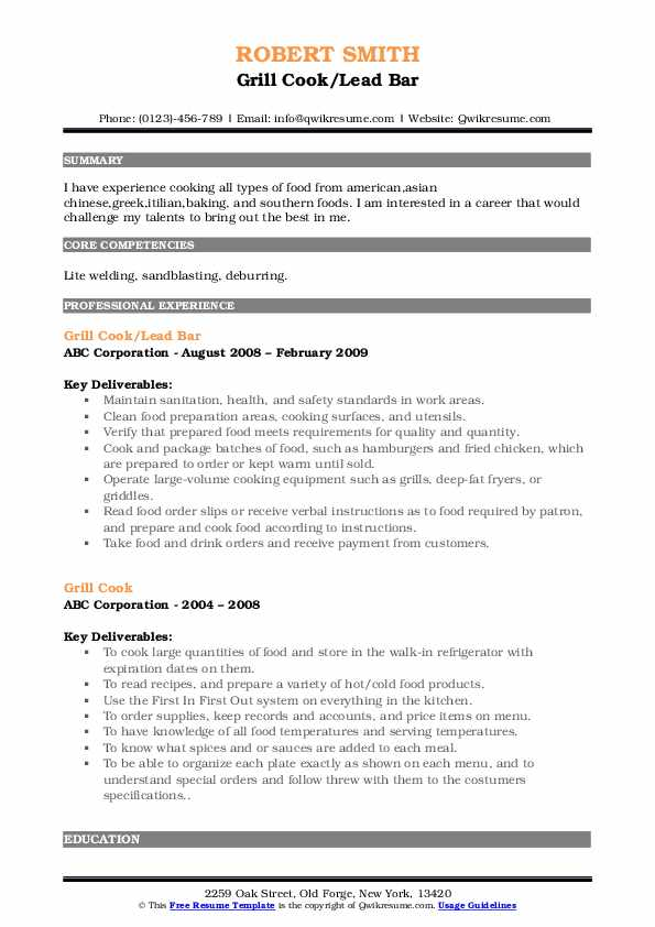 Grill Cook/Lead Bar Resume Sample