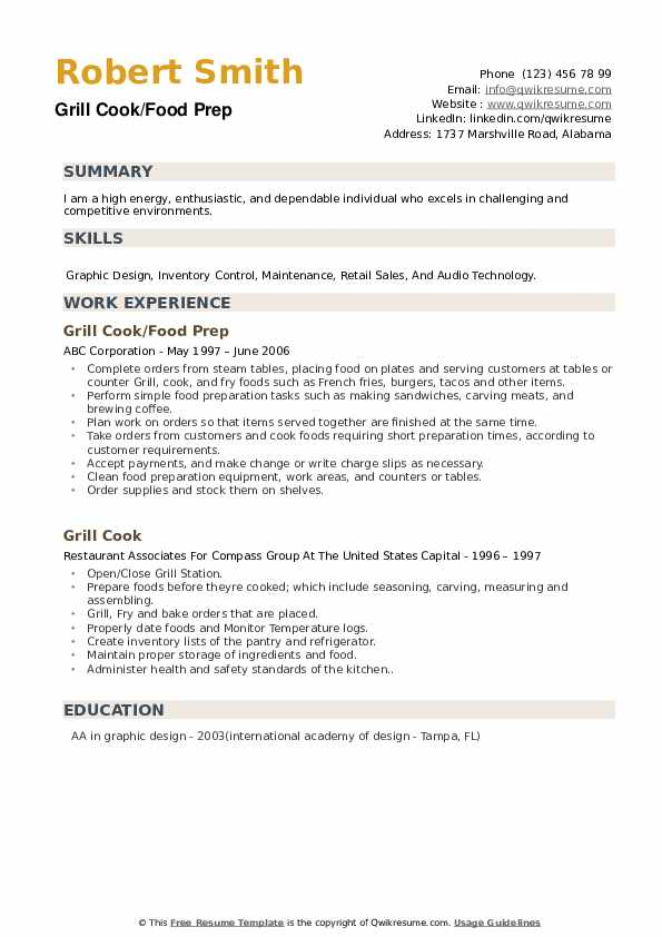 Grill Cook/Food Prep Resume Example